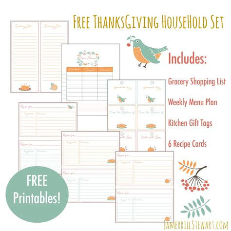 free printable grocery list for thanksgiving free thanksgiving household printables set grocery
