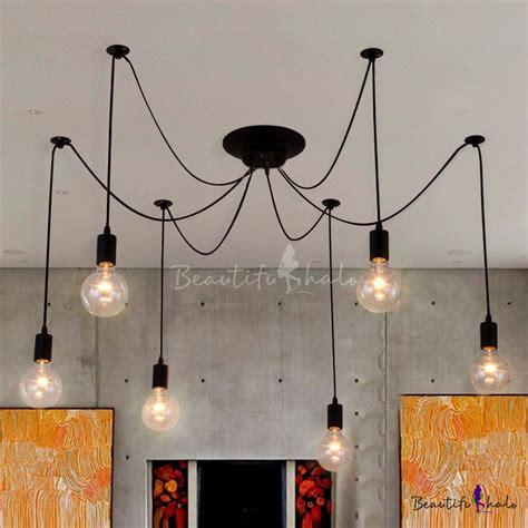 Simple 8 Light Edison Bulb Black Led Multi Light Pendant Light Bulb Pendant Fixture