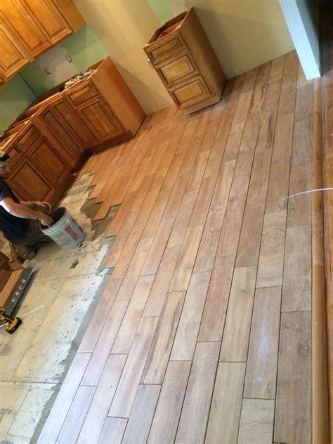 wood tile flooring  farmhouse kitchen remodel gbi