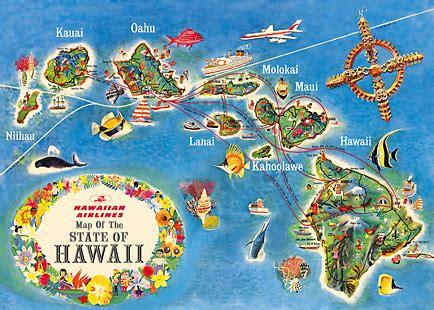 Magnet Kulkas Dari Amerika Aloha Hawai Usa hawaii magnet hawaiian airlines state map vintage travel poster islandartstore