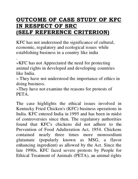 Kfc Study Essay by Kfc Business Study