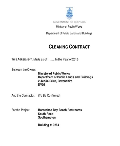 7 cleaning contract templates free sles exles