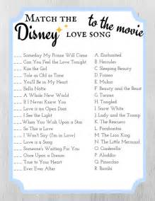match the disney love song to the movie bridal shower game