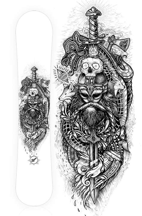 norwegian inspired snowboard design tattoo vikings and