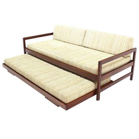 daybed with pull out bed solid walnut frame mid century modern trundle pull out
