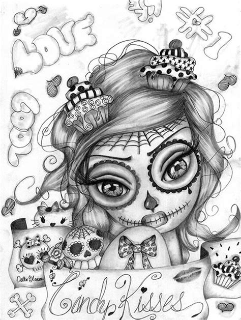 skull tattoo for girl kisses by dottie gleason sugar skull canvas