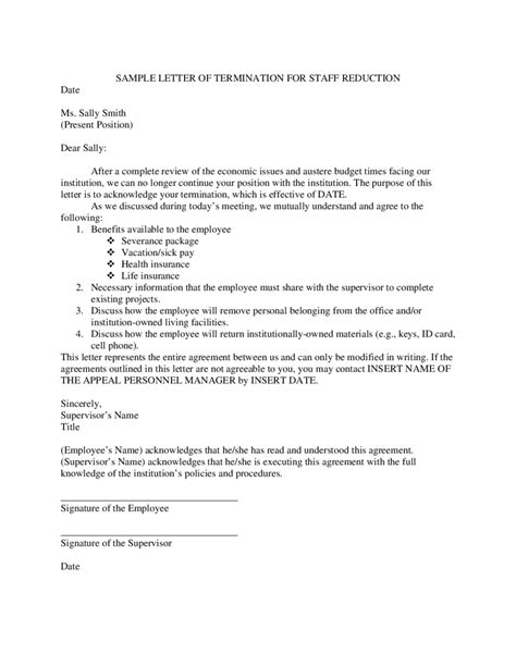 termination letter format due to absence sle letter termination employment due redundancy