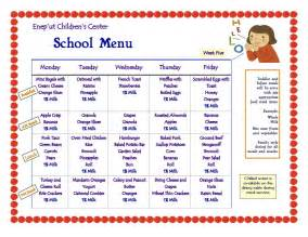 cacfp menu template blank lunch menus for daycare calendar template 2016