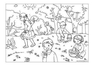 egg hunt coloring page easter colouring pages