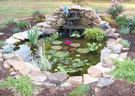small garden pond with cascading gardening and