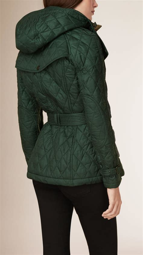 Womens Green Quilted Jacket by Burberry Quilted Jacket In Green Lyst