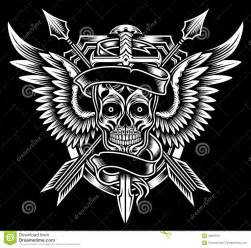 winged skull with sword and arrows stock image image