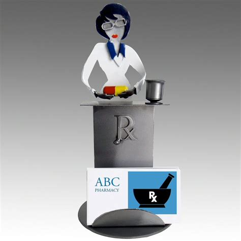 Whimsical Desk Accessories Whimsical Pharmacist Metal Business Card Holder Office Supplies