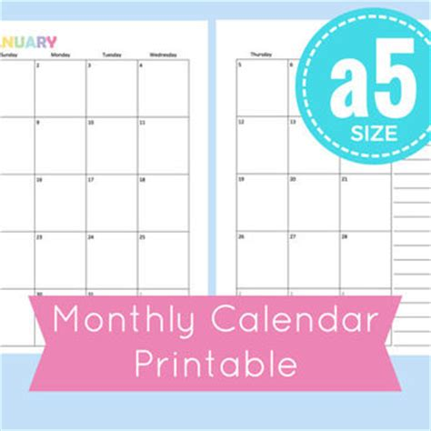 printable monthly calendar a5 best a5 planner pages products on wanelo