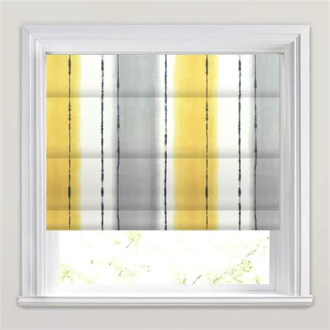 Faux Wood Venetian Blinds Rich Mustard Yellow Grey Amp White Broad Striped Roman Blinds