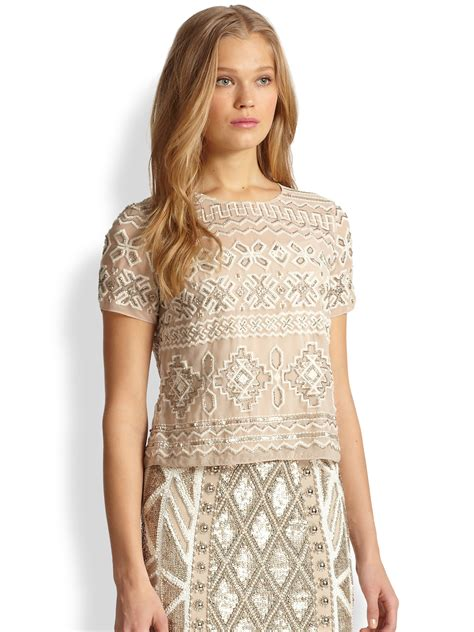 Embellished Top lyst needle thread embellished top in