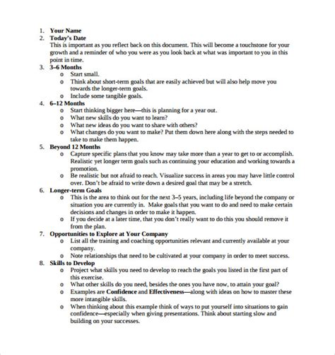 how to write a career plan template 10 sle career plans sle templates