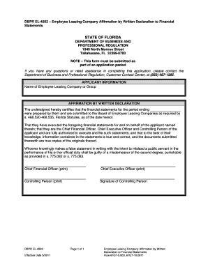 fillable online dbpr el 4503 1 employee leasing company