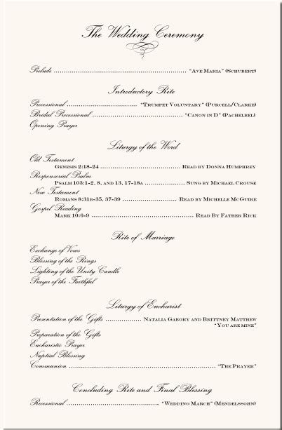 Wedding Program Exles Wedding Program Wording Wedding Ceremony Programs Wedding Directories Church Wedding Ceremony Program Template