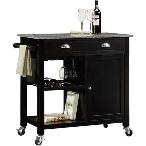 better homes and garden deluxe kitchen island black