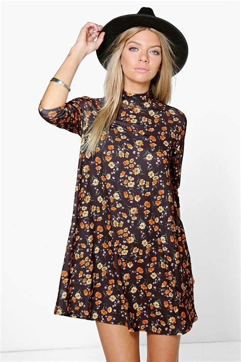 swing costume boohoo womens arabella floral high neck swing dress