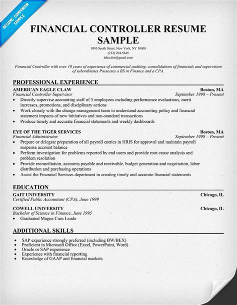 controller resume exles financial controller resume education career