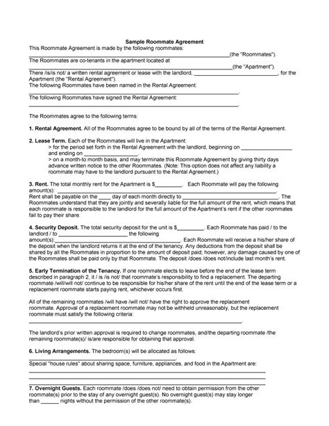 free lease agreement template no credit card 40 free roommate agreement templates forms word pdf