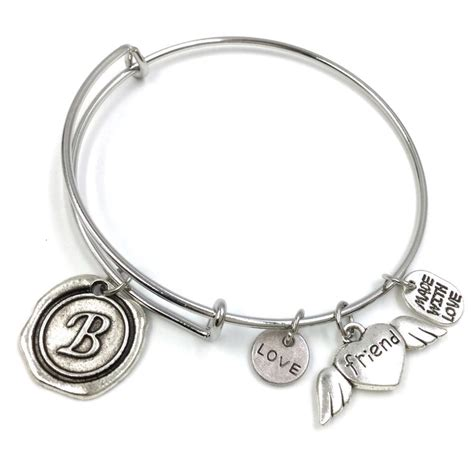 expandable wire bangle silver plated charm bracelet wax