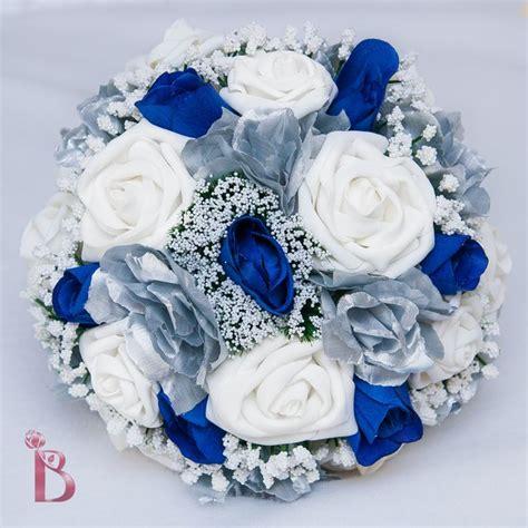 blue and silver wedding royal blue and silver wedding bridal bouquet by thebridalflower 110 00 backyard wedding on