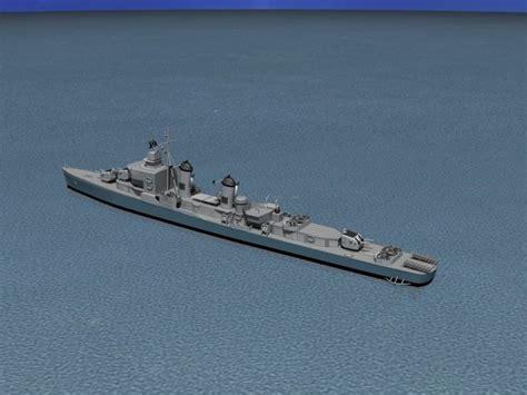 uss buck sumner class destroyer dd 761 uss buck 3d model rigged