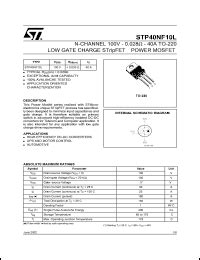 St P40nf10 P40nf10 Low Gate Charge Power Mosfet 50a 100v To 220 sgs thomson microelectronics p40nf10 datasheet