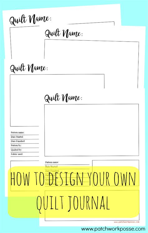 how to design your own quilt journal
