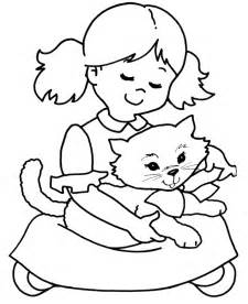 Girl baby cat coloring pages printable coloring pages litle pups