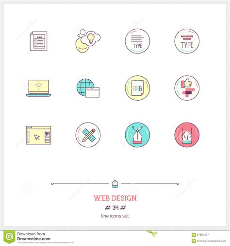 website design workflow color line icon set of web design work process objects ui