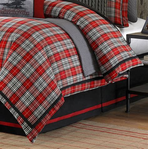 williamsport lodge red plaid comforter set