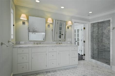 white bathroom vanity ideas gray walls marble basketweave tiles floor white double