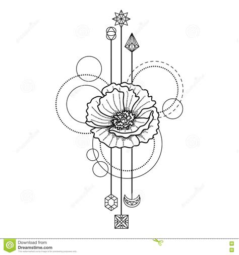 floral geometric tattoo stock vector image 81005054