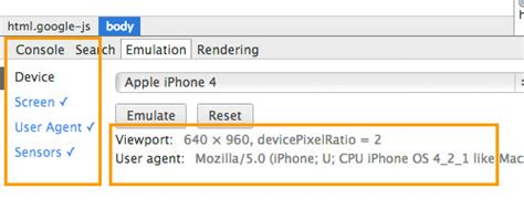 mobile emulation mobile emulation in chrome pixelpush design