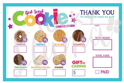 printable order form for girl scout cookies 2018 girl scout cookie order form printable