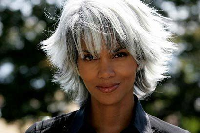 leaving a patch of grey hair in your dreadlocks halle berry with short white gray hair as storm in the x