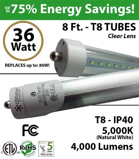 8 Ft T8 Led Tube Light 36w 4000lm 5000k Ip40 Clear Lens