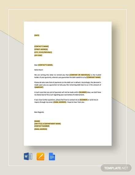 sample guarantor letter job template word