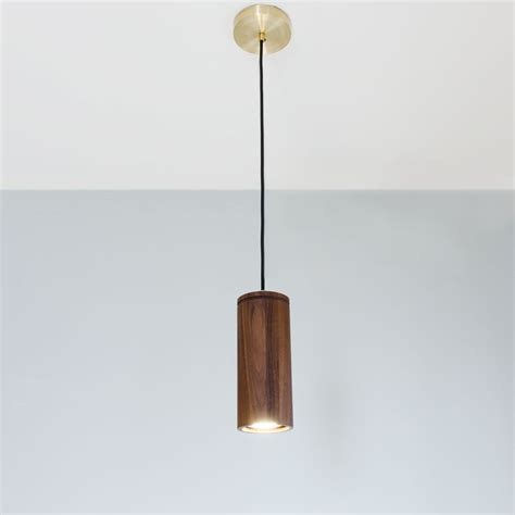 Cylinder Pendant Light Walnut Cylinder Pendant L Wood Pendant Light Brass And