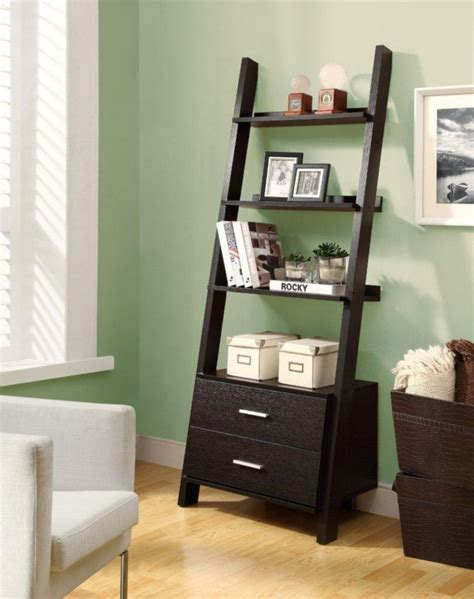 Ladder Bookcase With Storage Drawers by Monarch Specialties 69 Inch Ladder Bookcase With Two