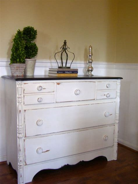 White Dresser With Stained Top by White Distressed Dresser With Rich Brown Stained Top Reserved For S Best White