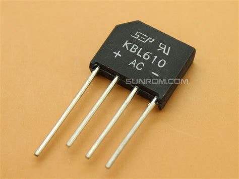 power diode bridge kbl610 6a diode bridge 4184 sunrom electronics technologies