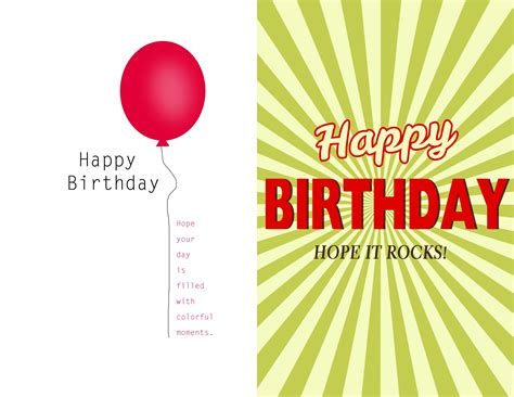 Birthday Card Template Printable by Free Birthday Card Templates To Print Resume Builder