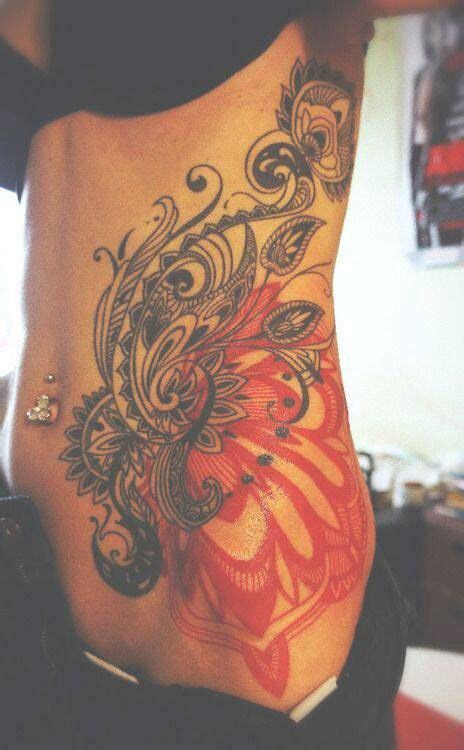 loving on sunday beautiful stomach tattoos and on sunday want paisley tattoo love the black and red tattoo