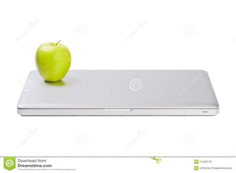 Laptop Apple Slim modern slim laptop with green apple stock photography image 11403772