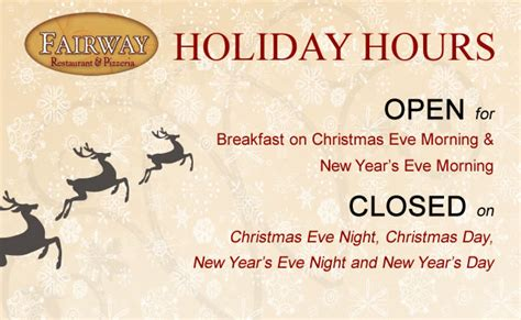 eagle new year day hours hours the fairway restaurant